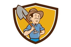 Farmer Shovel Shoulder Crest Cartoon