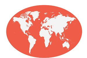 World map planet red color flat
