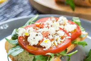 Feta with tomato sandwich