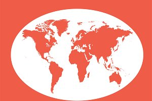 World map planet red flat design
