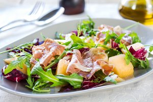 Prosciutto with rocket,melon salad