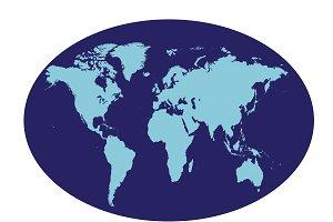 World map planet flat design blue