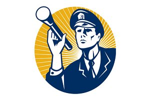 Policeman Security Guard Flashlight