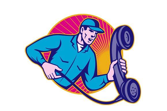 Telephone Repairman Worker Phone - Illustrations
