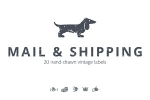 20 Mail & Shipping Vintage Labels