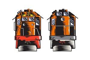 Diesel Train Front Rear Woodcut