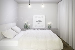 Square canvas bedroom mockup