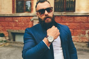 Stylish cool bearded man