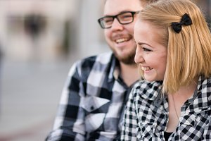Engagement Photo Couple in Checkers