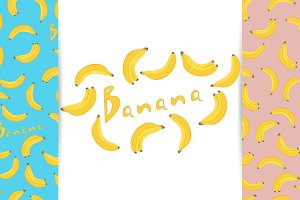 Banana Seamless Patterns.