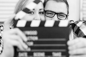 Engagement Couple with Movie Theme