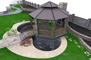 Koi pond and gazebo aerial