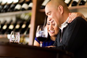 Engagement Photo in Wine Bar