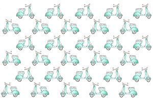 Mint retro scooter