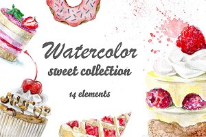 Watercolor sweet collection