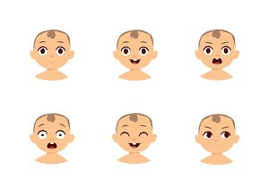 Kid emoji vector set