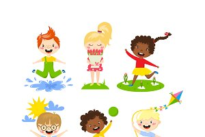 Summer kids vector illustration