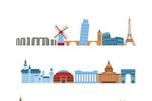 Travel places vector set