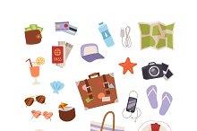 Summer symbols icons isolated