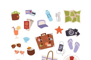 Summer symbols icons isolated