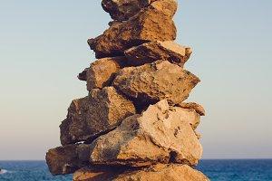 Balance of stones on the seacoast