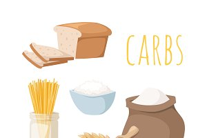 Carbs food vector illustration