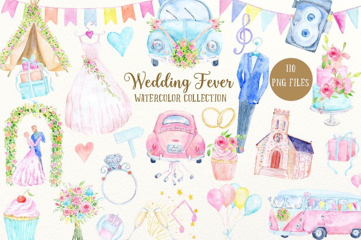 Watercolor Collection Wedding Fever Illustrations