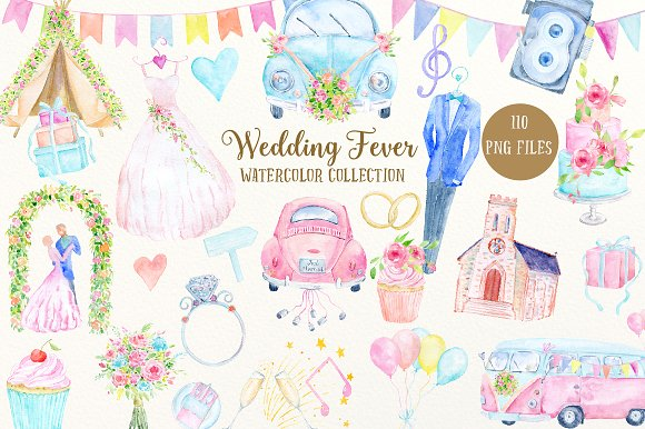 watercolor collection wedding fever illustrations creative market