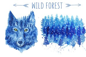Snowy wild forest and wolf.
