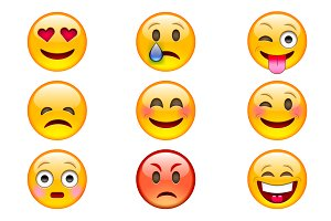 Colorful Emoji Vector Icons.