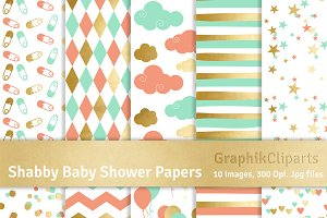 Shabby Baby Shower Digital Papers
