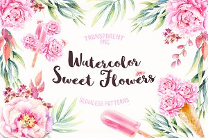Watercolor Sweet Flowers