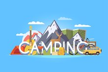 Camping Illustration #1. 50% Off