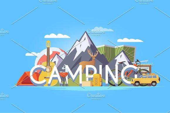Camping Illustration #1. 50% Off - Illustrations