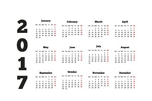 Set of simple calendars in english