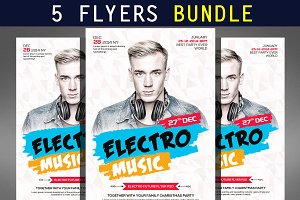 5 Electro Party Flyer Bundle