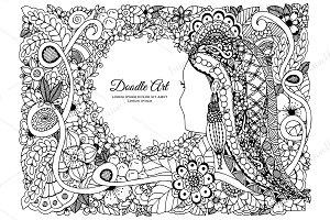 Doodle girl floral round frame