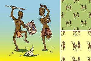 African people dancing. Vector