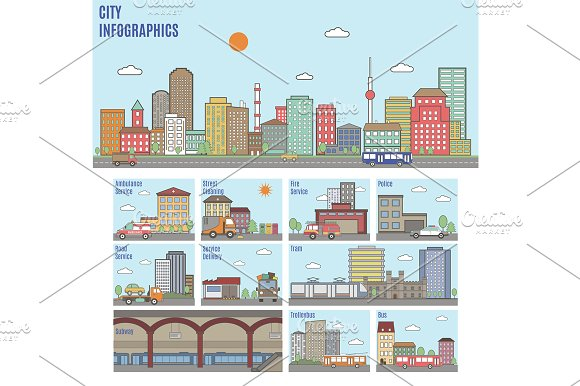 City infographics. Transport system - Graphics