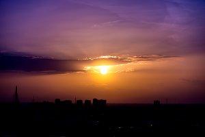 Orange purple sunset sky
