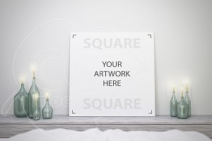 Square canvas mockup close-up