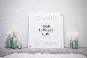 Square canvas mockup close-up
