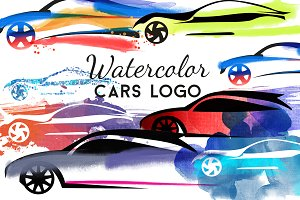 Watercolor cars logo
