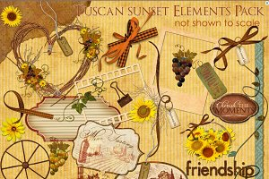 Tuscan Sunset Clip Art 44 Elements