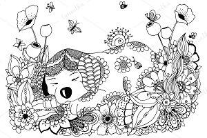 Doodle puppy sleeps in flowers