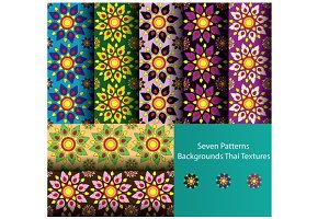 background patterns flora color set