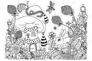 Doodle house mushroom, floral