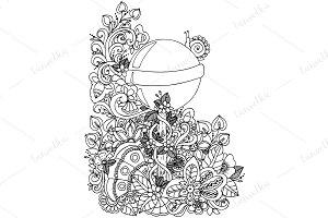 Doodle lollipop in flowers