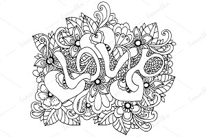 Doodle inscription Love flowers