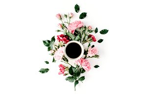 Floral composition with coffee mug